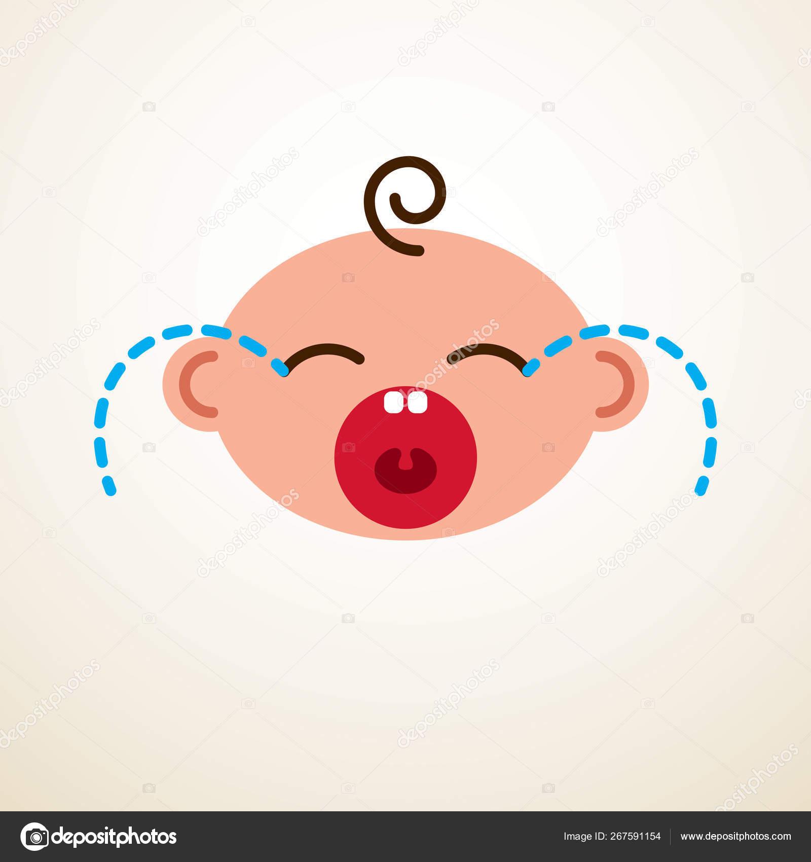 Bebê Bonito Dos Desenhos Animados Vetor Plana ícone Chorando