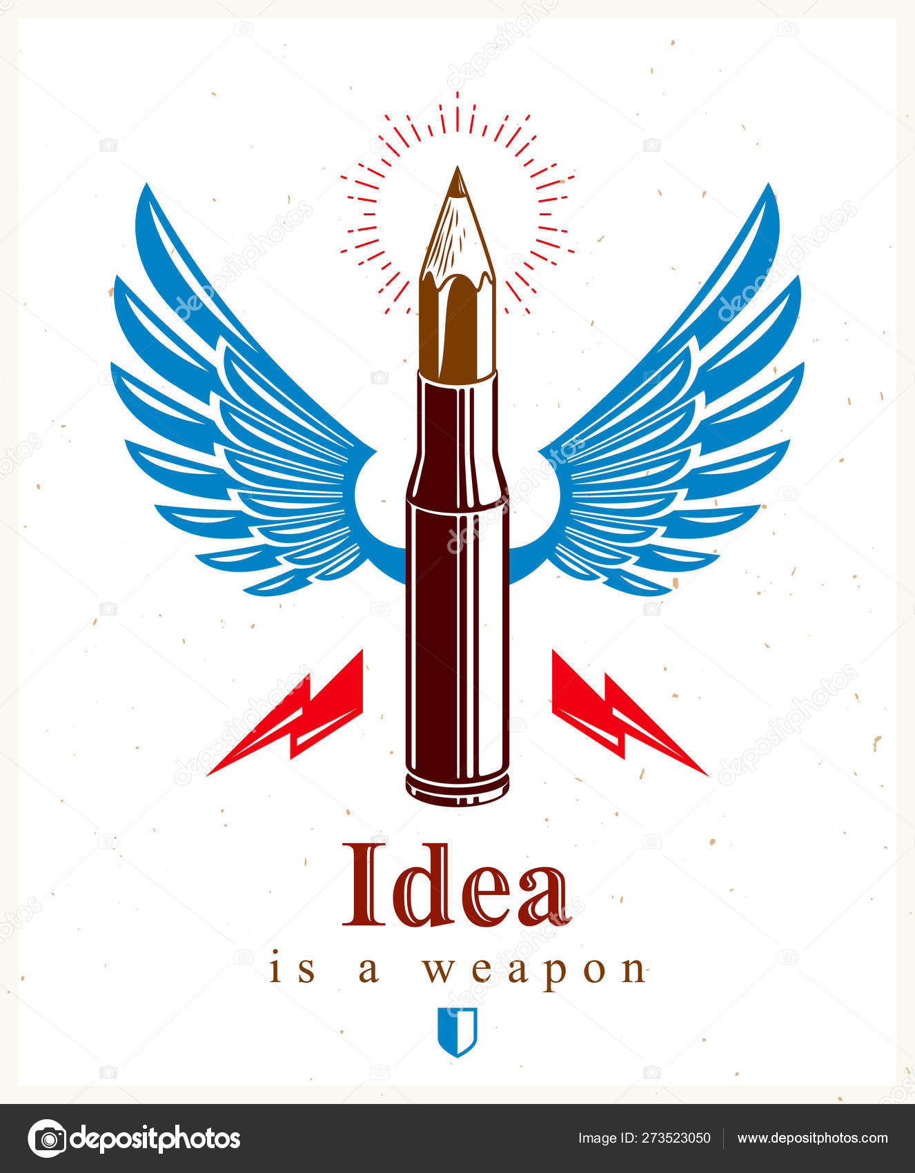 Idea is a weapon concept, weapon of a designer or artist