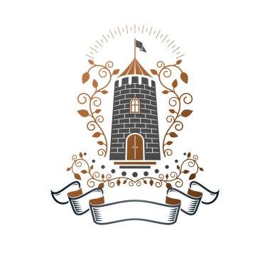 Ancient Castle emblem. Heraldic Coat of Arms decorative logo iso