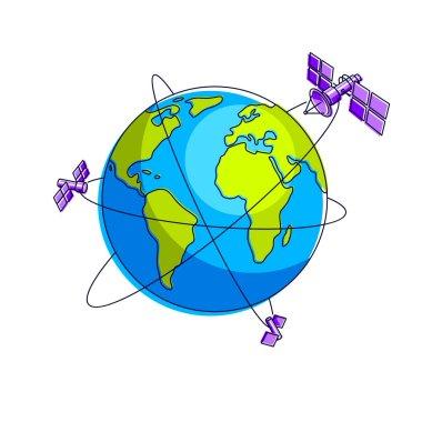 Global communication technology satellites flying orbital spacef