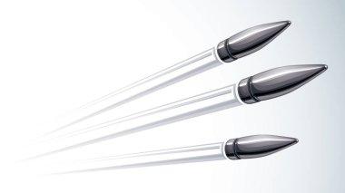 Realistic bullets flying over white, vector 3D illustration.