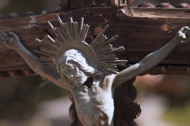 Jesus Christ crucified (an ancient sculpture) (details)