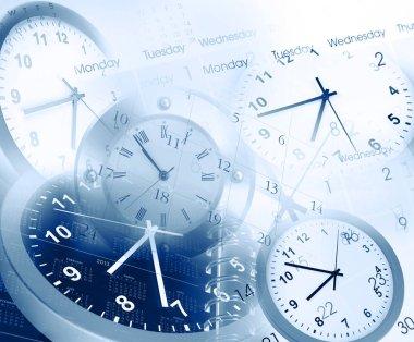 Clocks and calendars composite. Blue tone
