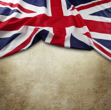 Union Jack flag on brown background
