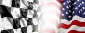 Fotografia Bandiera americana e la bandiera a scacchi corse