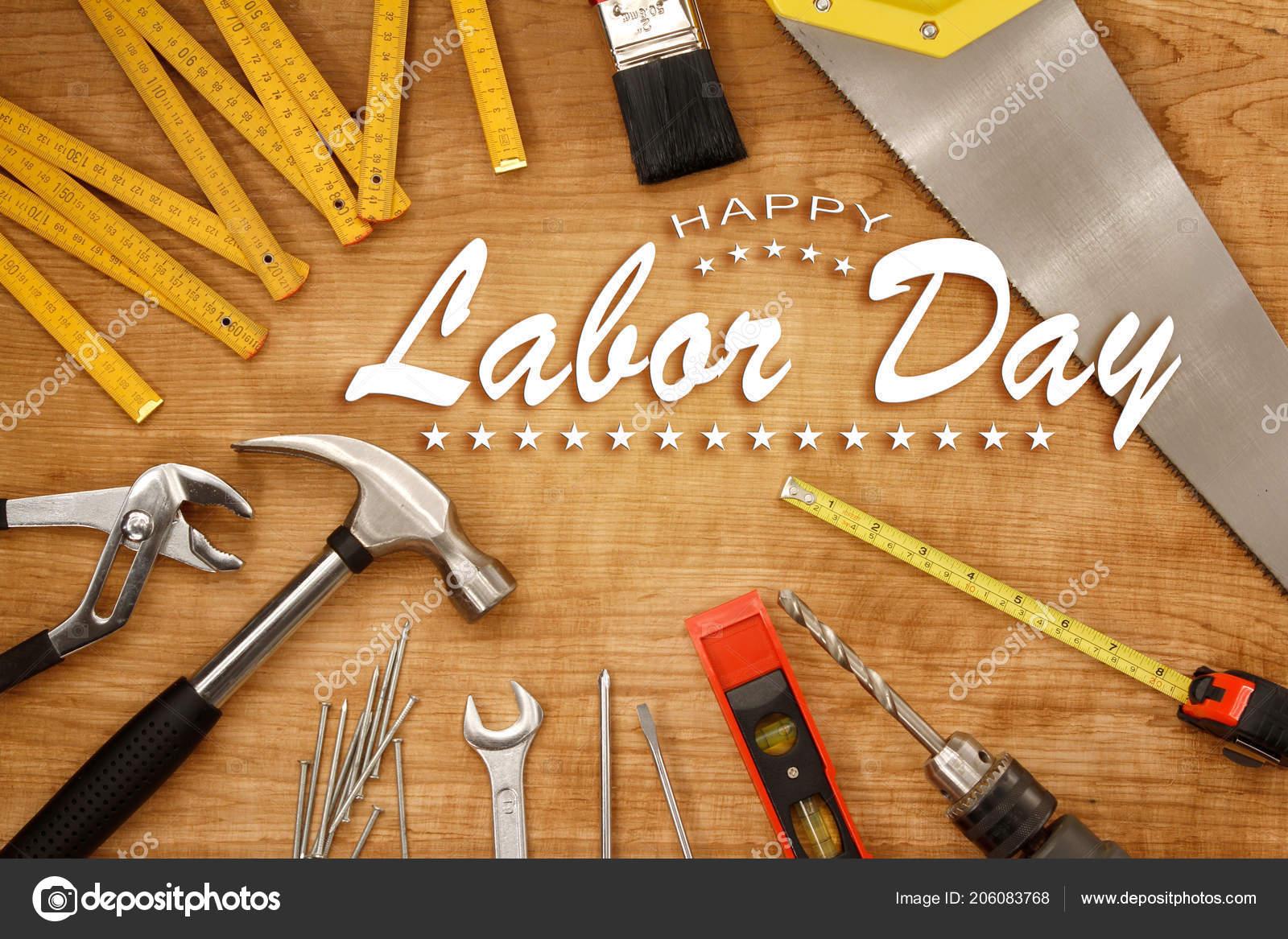 Happy Labor Day Tools Wood Stock Photo C Stillfx 206083768