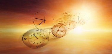 Clocks in bright sky. Time flies stock vector