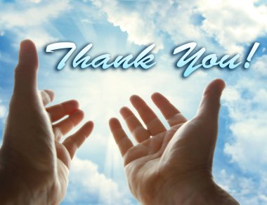 Hands in sky and the word Thank You