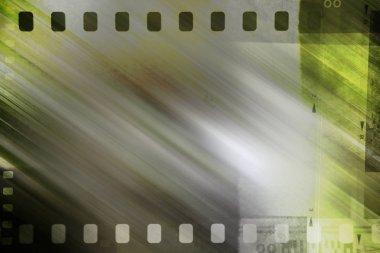 Film negative frames on green background