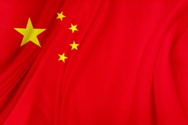 Closeup of silky Chinese flag