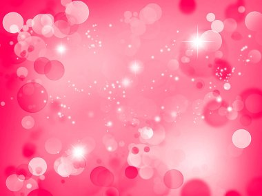 Abstract stars and circles pink background