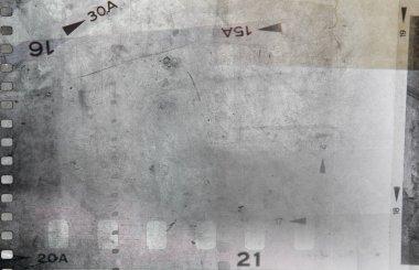 Film negative frames on grey background