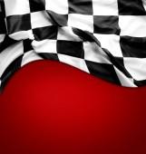 karierte Flagge auf Rot