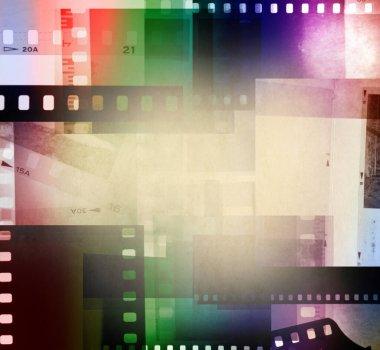 Colorful film negative frames background