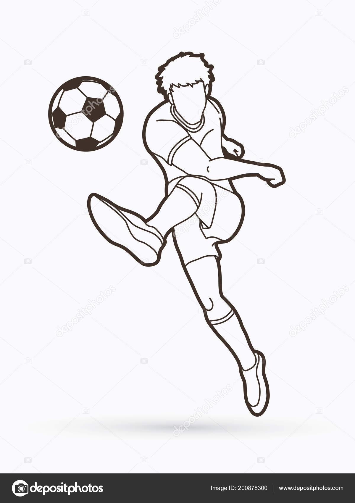 bb3ca2ae9 Joueur de football tir un balle action plan graphique vecteur– illustration  de stock