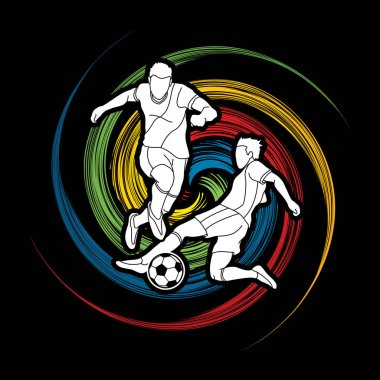 Soccer player action designed on spin wheel graphic vector