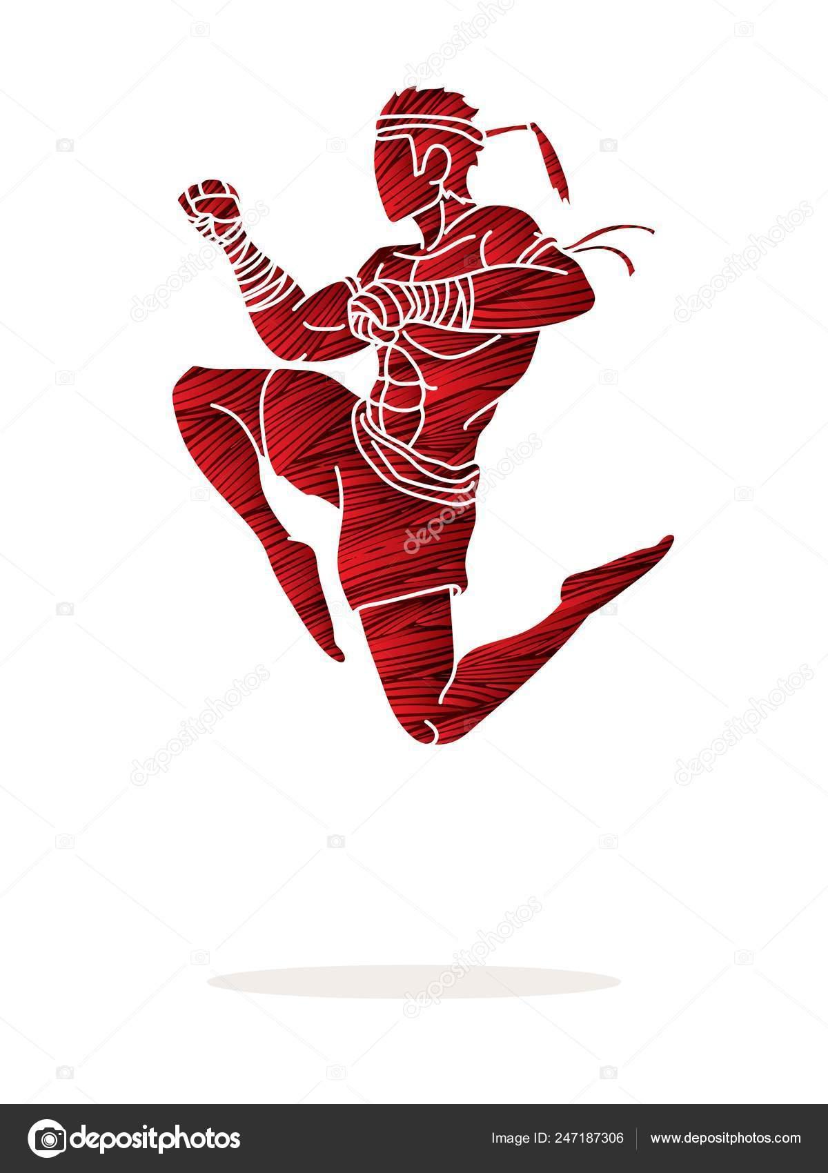 Muay Thai Fighting Thai Boxing Jumping Attack Cartoon Graphic