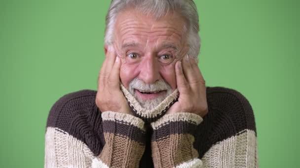 Pěkný starší vousatý muž na sobě teplé oblečení proti zeleným pozadím
