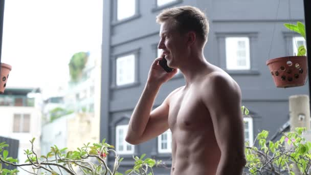 Young Handsome Shirtless Man Outdoors In Balcony