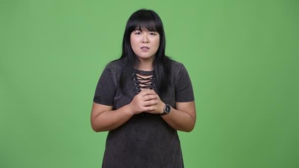 Krásná nadváhu Asijské žena šokovaní
