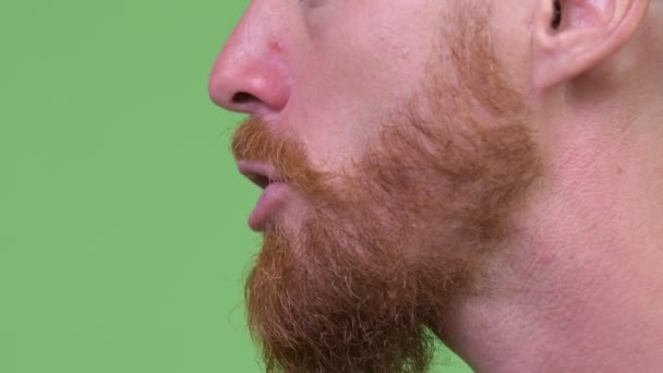 Close up profile view of mouth of angry bearded man talking
