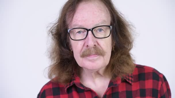 Senior hipster man with mustache wearing eyeglasses