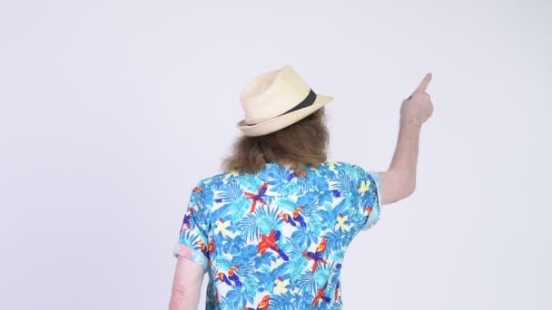 Rear view of senior tourist man pointing finger