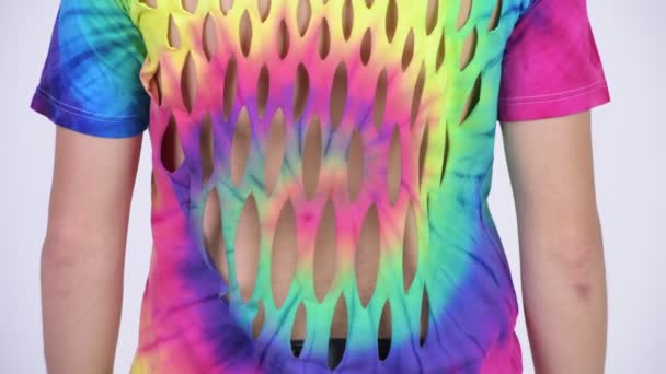 176a16aa Rear view of man wearing tie-dye shirt with holes — Stock Video ...