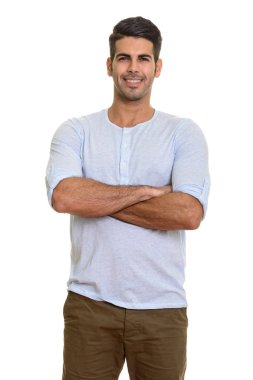 Young happy Persian man smiling with arms crossed isolated against white background stock vector