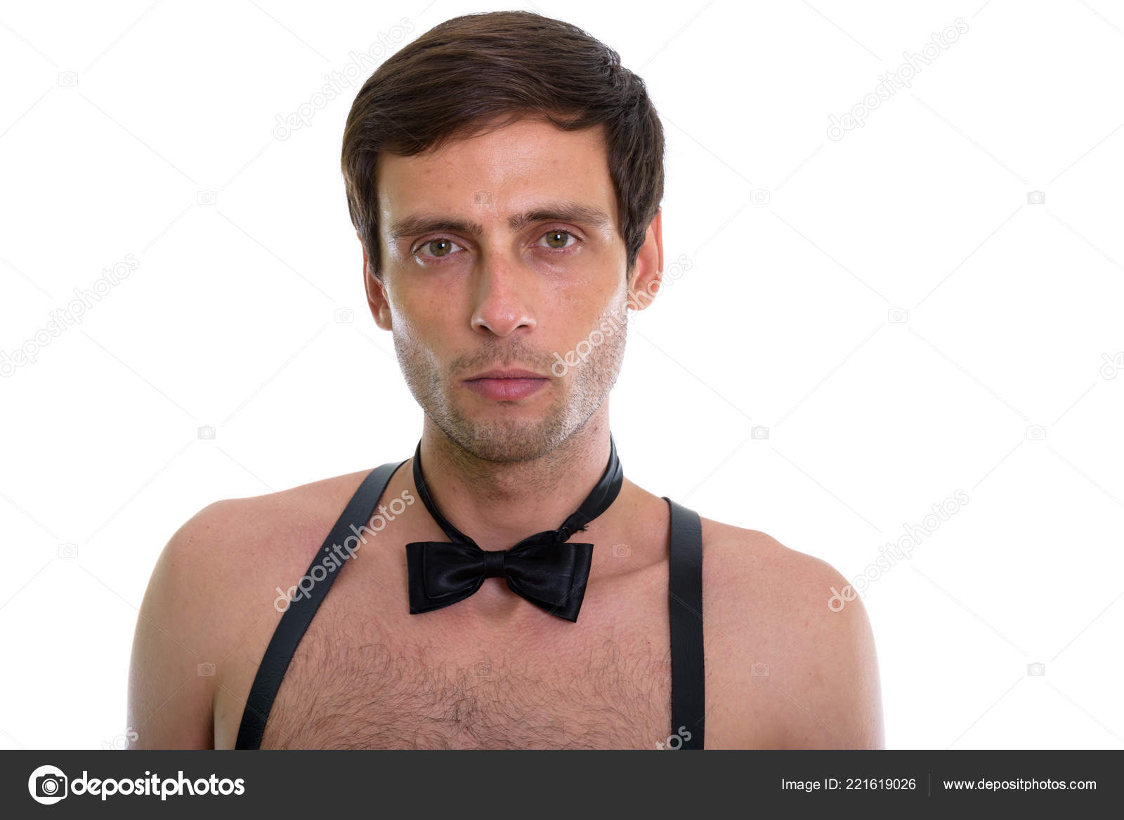 e476b086c5ab Close up of young handsome man wearing suspenders and bow tie sh– stock  image