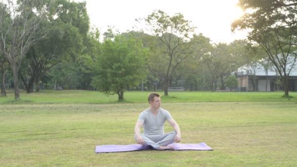 Mladý pohledný muž relaxační při pohledu parku