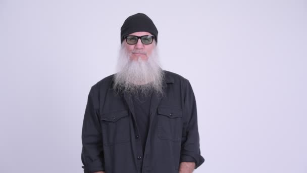 Mature bearded hipster man with sunglasses