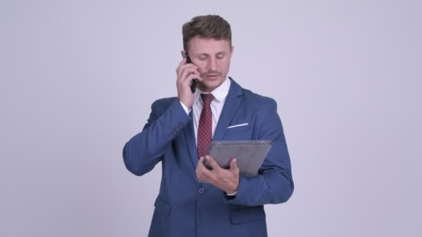 Handsome bearded businessman talking on the phone and using digital tablet