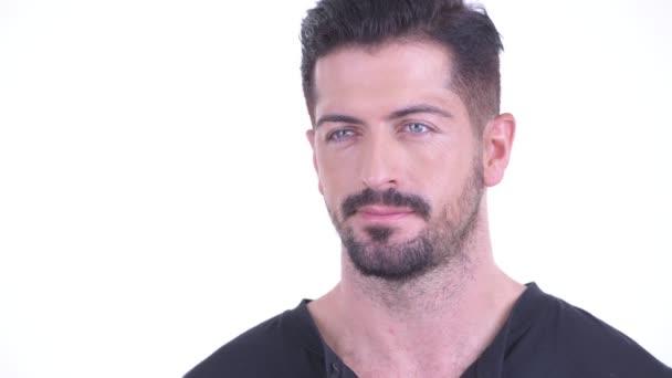 Arca boldog fiatal jóképű szakállas férfi gondolkodás