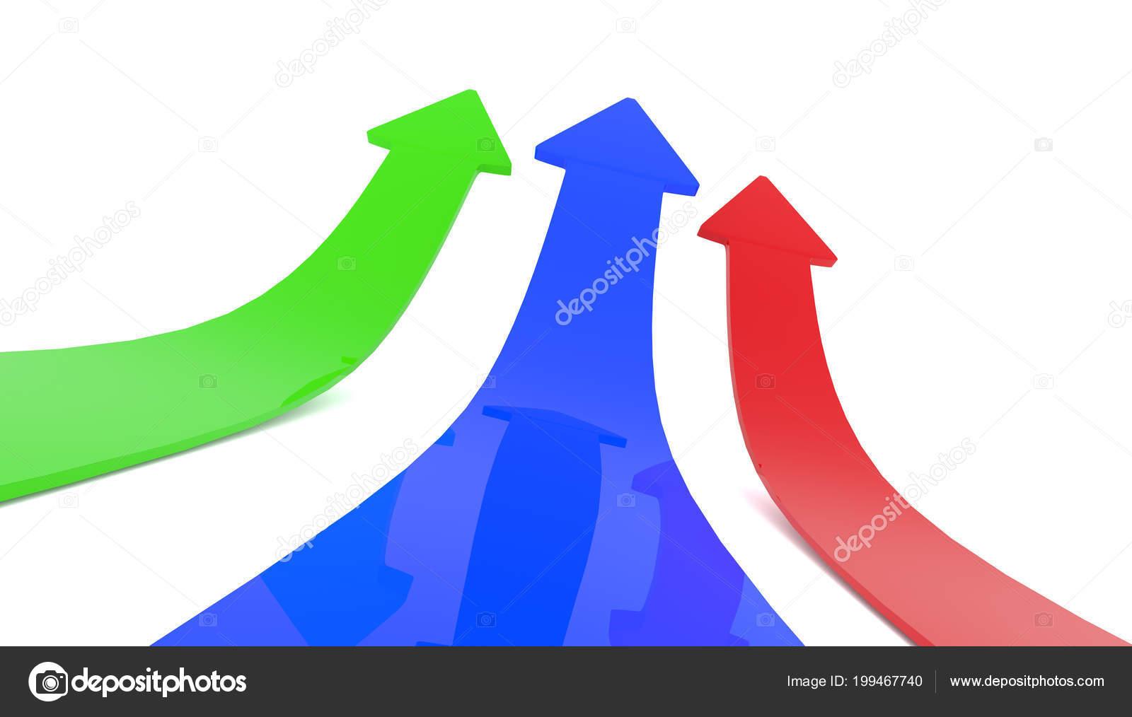 Flechas Mejora Colorido Sobre Fondo Blanco Render