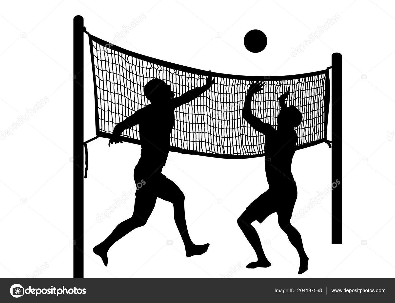 Siluetas Dos Hombres Jugando Voleibol Playa Sobre Fondo