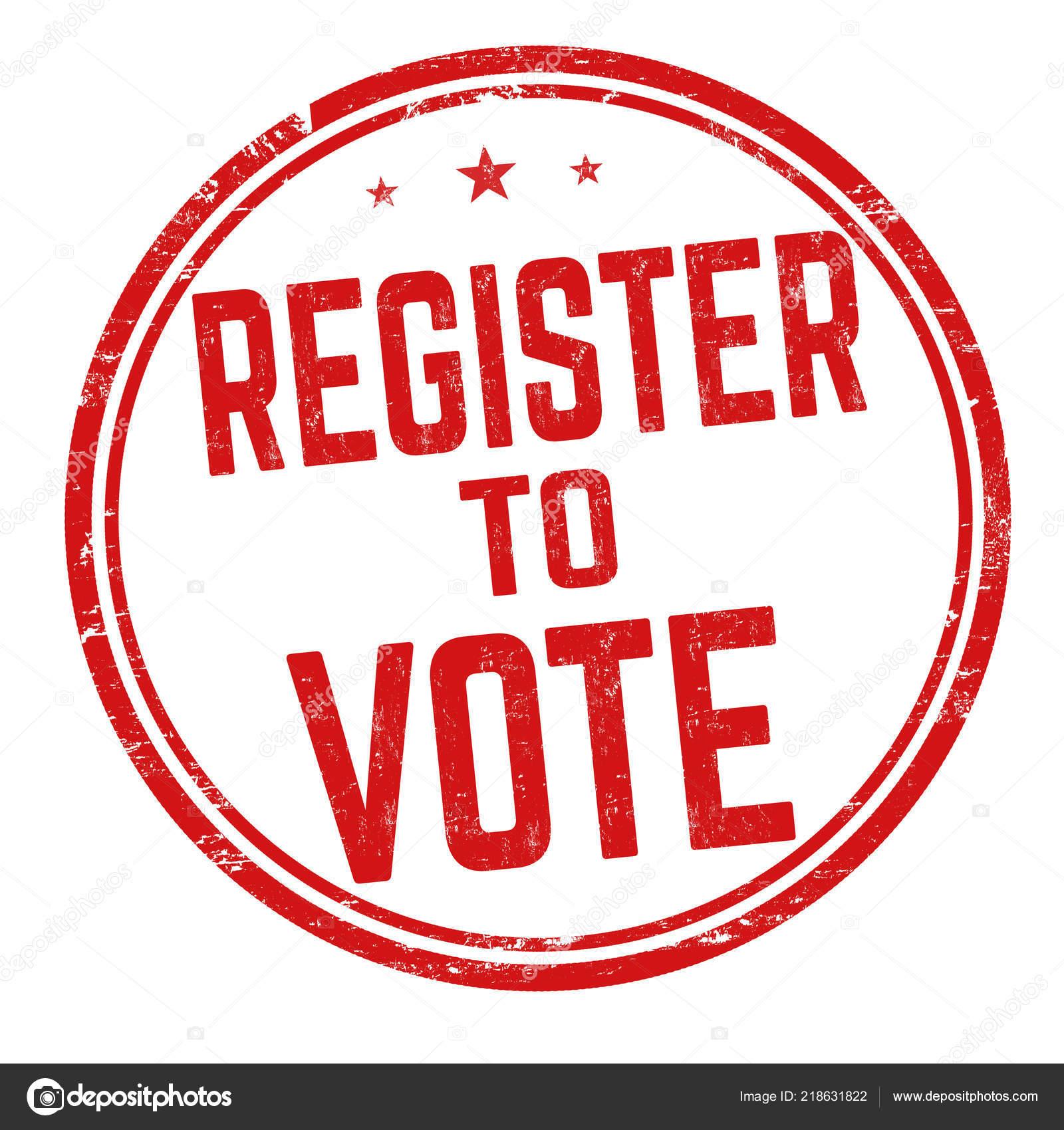 register vote sign stamp white background vector illustration