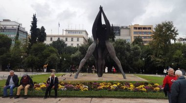 Athens, Greece - November 20, 2018 : Monument of National Reconciliation view in Klathmonos square of Athens.