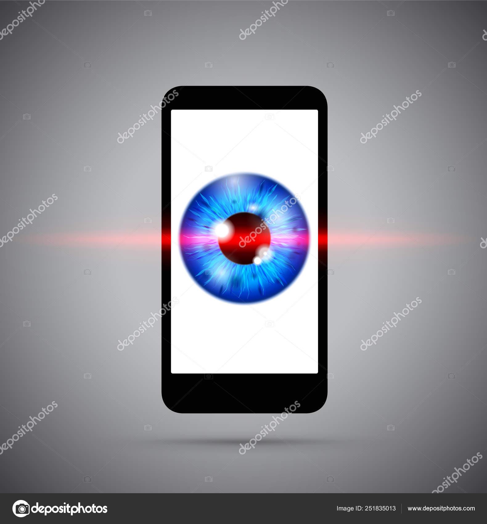 6742b4c43b Globo ocular azul detrás de un teléfono celular de laser — Vector de stock