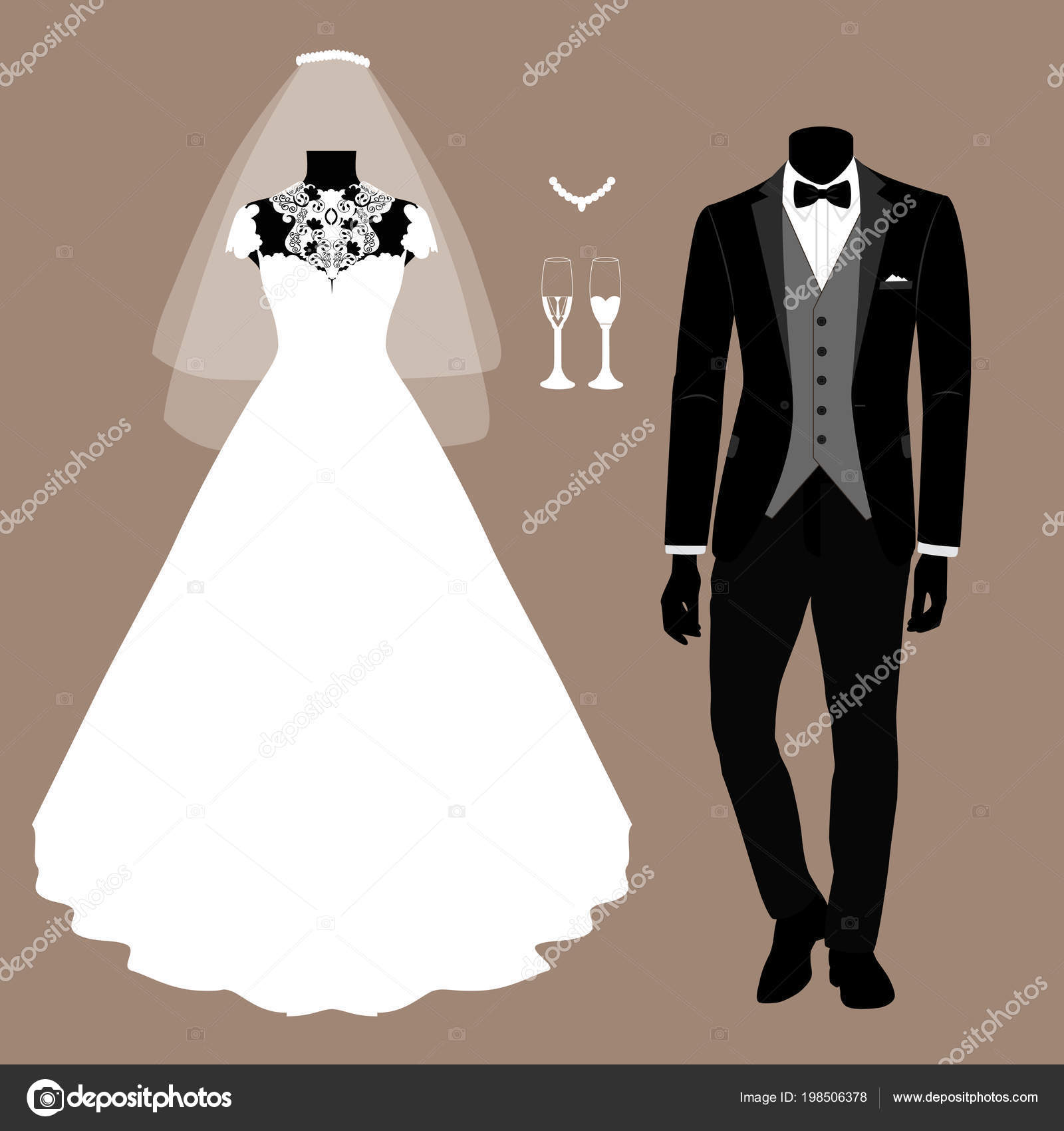 13e365b21cd0 Invitación de boda con la ropa de la novia y el novio. — Vector de ...