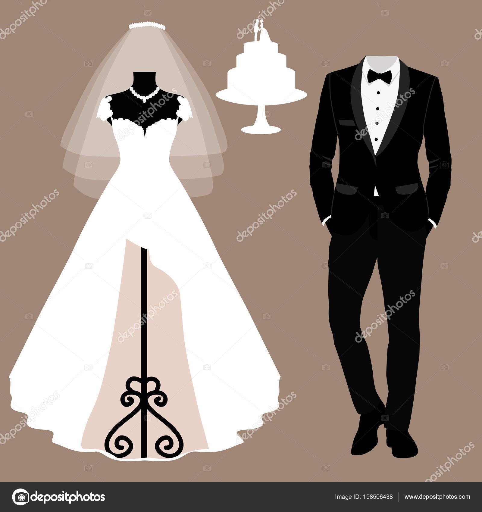 d7d21a530 Invitación de boda con la ropa de la novia y el novio. — Archivo ...