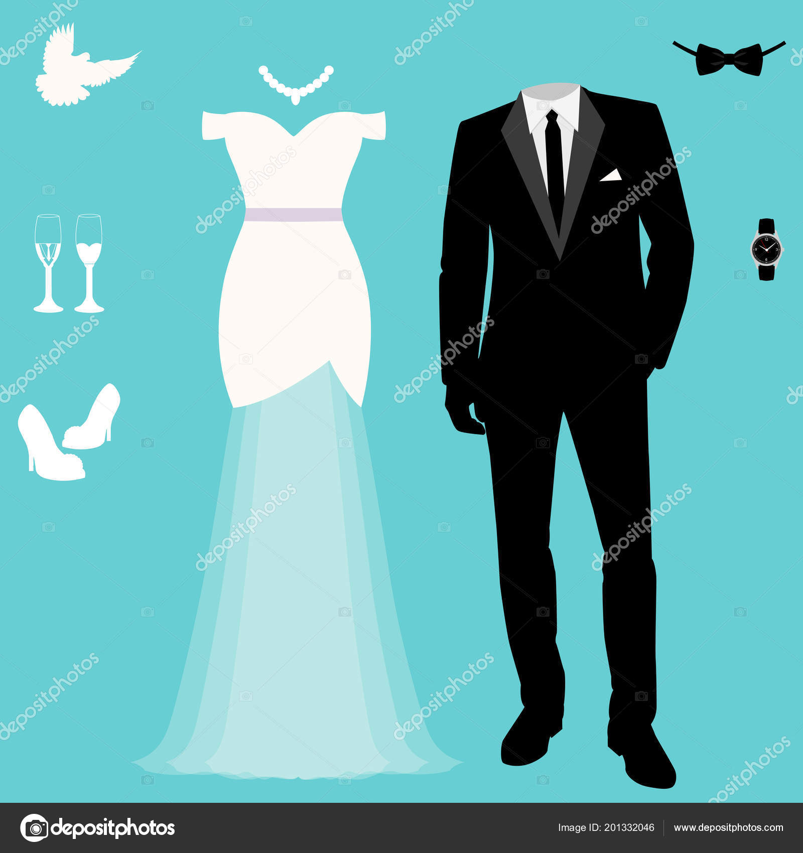 Wedding Card Clothes Bride Groom Wedding Set Beautiful Wedding Dress ...