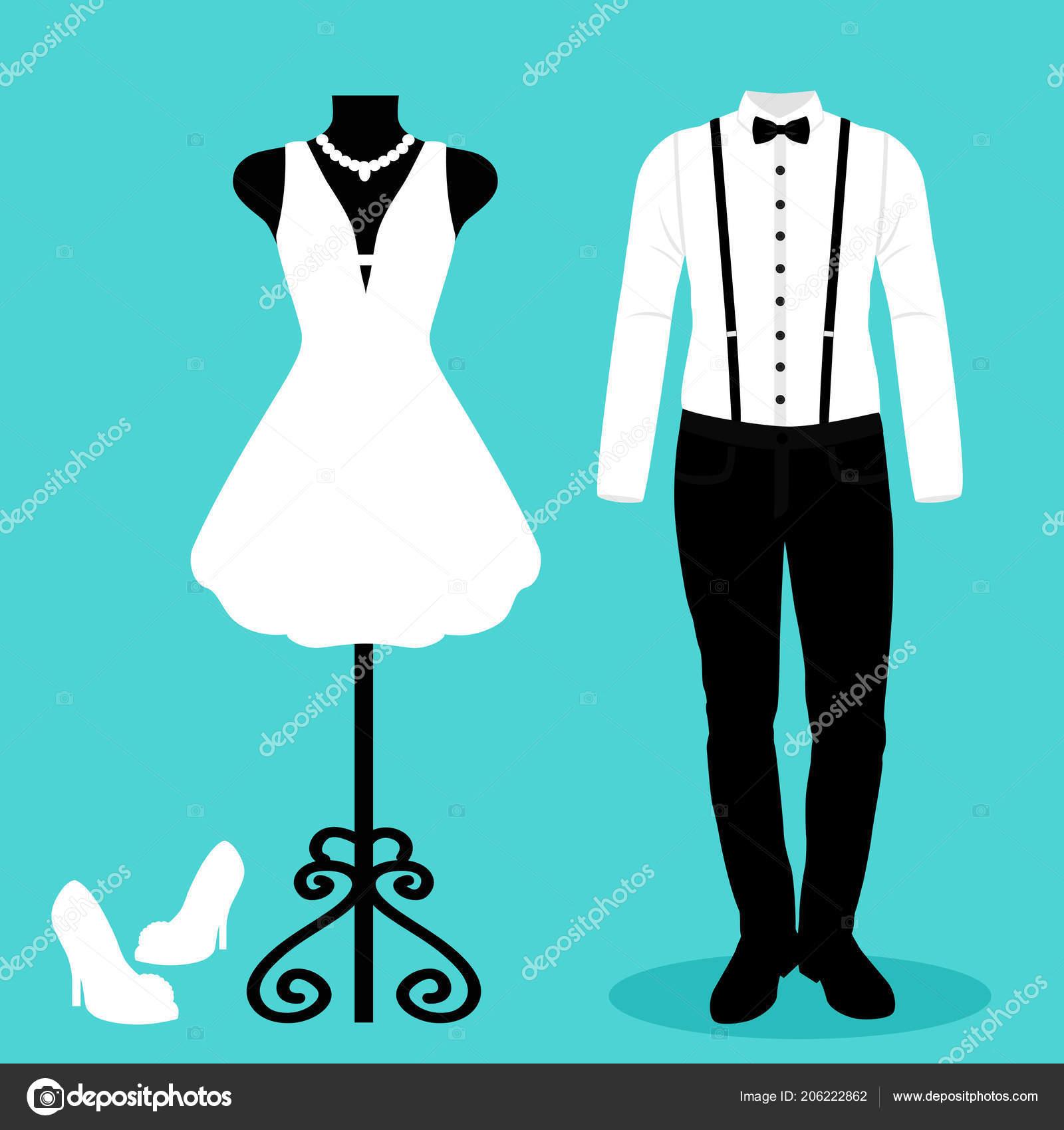a84781ec9 Invitación de boda con la ropa de la novia y el novio. La boda se ...