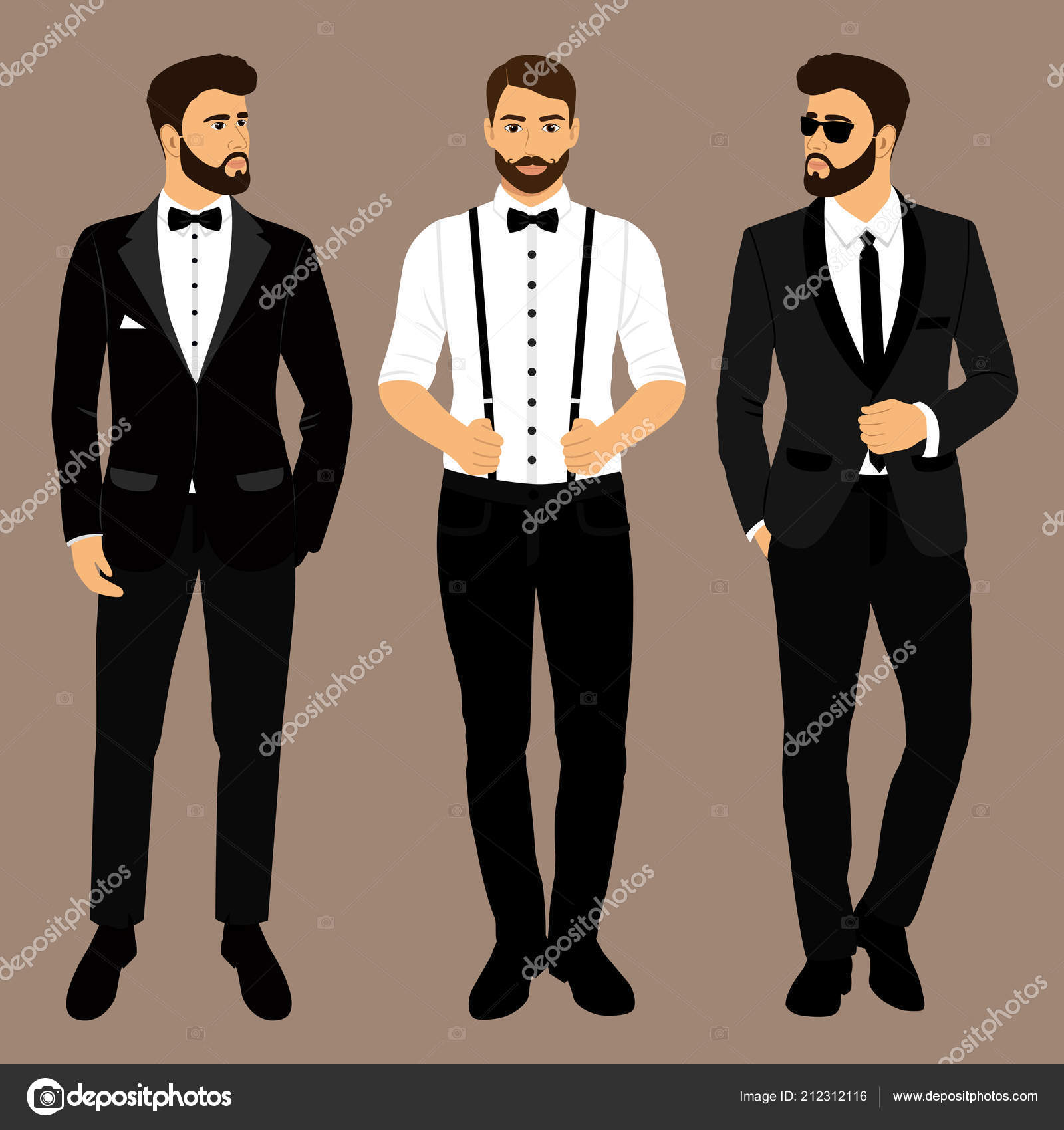 e246f62b35ec6 Un hombre con tirantes. El novio. Ropa. Traje de boda para hombre ...