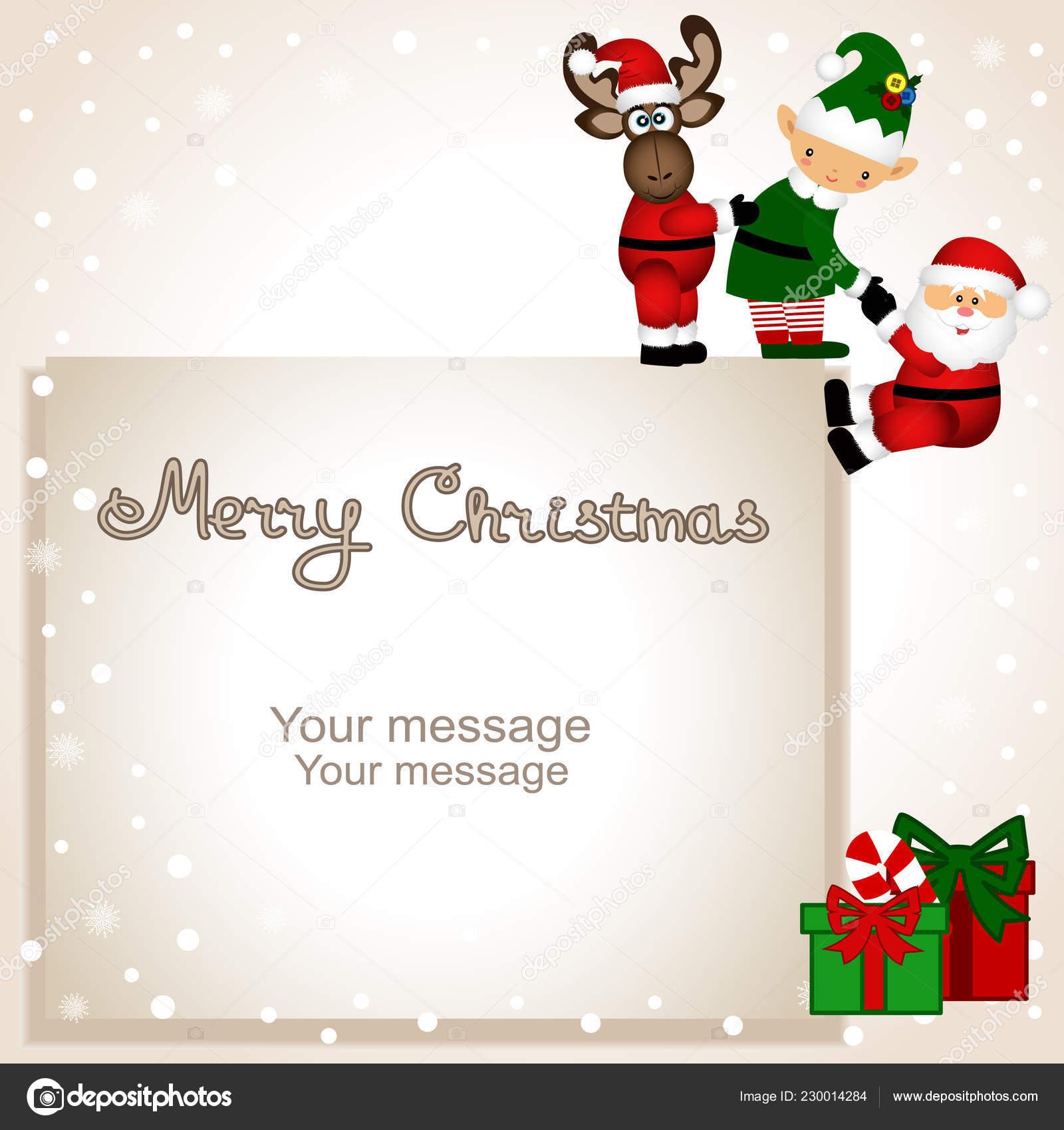 Tarjeta de Navidad  Divertida postal con elfo de Navidad