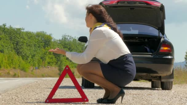 žena nervózně mluvil po telefonu vedle rozbité auto