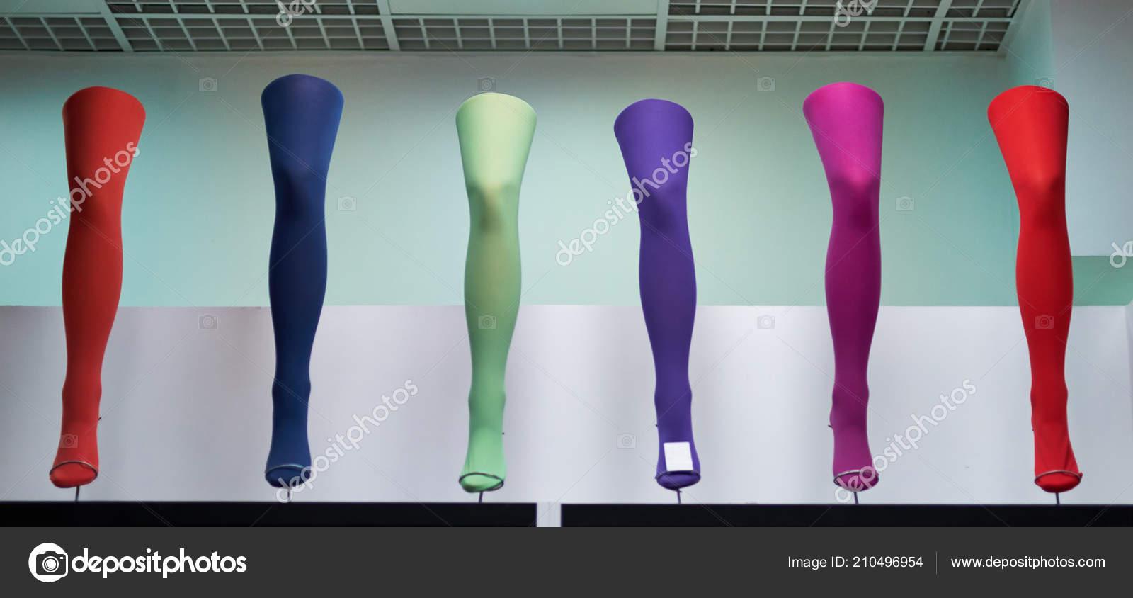 5153527b6 Pernas Manequins Mulheres Meia Calça Colorida — Fotografia de Stock