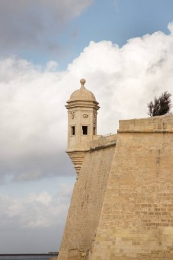 look out tower on the wall to the Grand Harbor, Vedette in malta
