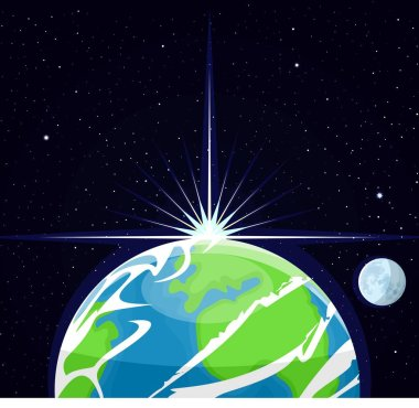 Image of the planet earth. The sun's rays illuminate the planet earth and the moon. Flat style. Cartoon.