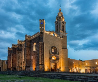 View of Convent of San Gabriel at sunset in Cholula, Mexico